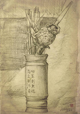 Still Life Drawings - Pen holder still life with pineapple-ArtToPan-realistic pencil sketch painting work by Artto Pan