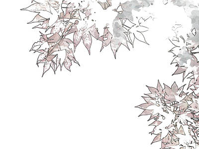 Maple Leaf Art Drawing - Pen Sketching Red Momiji Maple Leaves At The World Heritage For by Eiko Tsuchiya