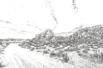 Mobius Drawing - Pen Sketching Rocks, Mountains And Sky At Alabama Hills, The Mo by Eiko Tsuchiya