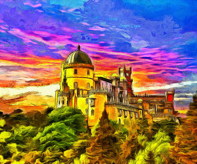 19th-century Digital Art - Pena National Palace - Da by Leonardo Digenio