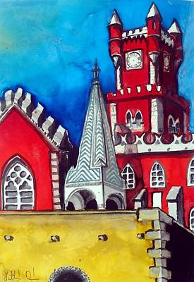 Painting - Pena Palace In Portugal by Dora Hathazi Mendes
