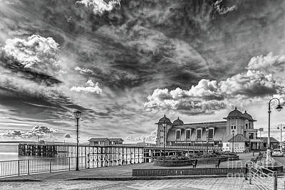 Photograph - Penarth Pier Morning Light 1 Mono by Steve Purnell