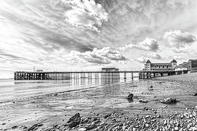 Photograph - Penarth Pier Morning Light 2 Mono by Steve Purnell