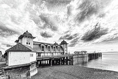 Photograph - Penarth Pier Morning Light 3 Mono by Steve Purnell