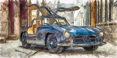 Sport Car Drawing - Pencil 1954 Mercedes-benz-300sl Gullwing by Edward Fielding