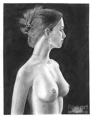 Pencil Drawing Classic Nude Woman Www.olgabell.ca Art Print by Olga Bell