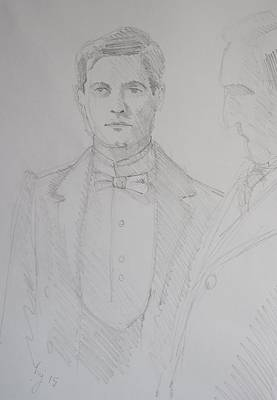 Drawing - Pencil Drawing Of A Butler - White Bow Tie by Mike Jory