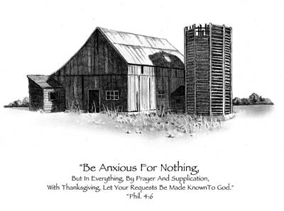 Pencil Drawing Of Old Barn With Bible Verse Print by Joyce Geleynse
