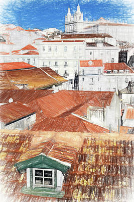 Pencil Drawing Of The Alfama District In Lisbon Print by Jose Elias - Sofia Pereira