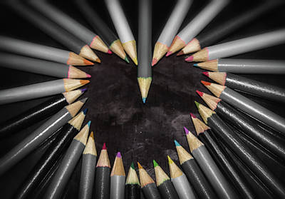 Colored Pencil Abstract Photograph - Pencil Heart by Martin Newman