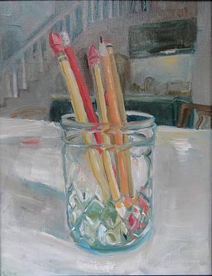 Painting - Pencil Jar by Laura Wilson