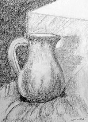 Still Life Drawings - Pencil Pitcher by Jamie Frier
