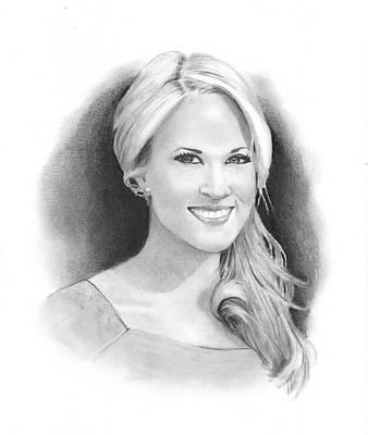 Nashville Drawing - Pencil Portrait Of Carrie Underwood by Joyce Geleynse