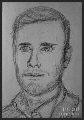 Musicians Drawings - Pencil Portrait of Gary Barlow by Joan-Violet Stretch