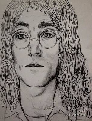 Drawing - Pencil Portrait Of John Lennon  by Joan-Violet Stretch