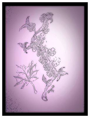 Maple Leaf Art Drawing - Pencil Sketch Blossoms And Maple Leaf by Debra Lynch