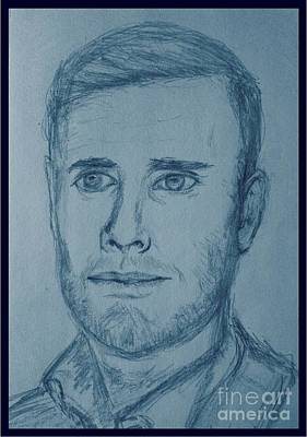 Musicians Drawings - Pencil Sketch of Gary Barlow in Blue Tones by Joan-Violet Stretch