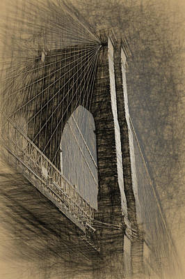 Drawing - Pencil Sketch Of The Brooklyn Bridge by Thomas Logan