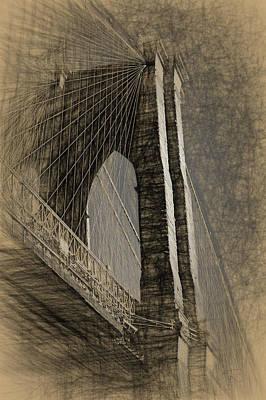 Pencil Sketch Of The Brooklyn Bridge Art Print