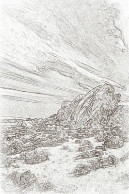 Mobius Drawing - Pencil Sketching Rocks, Mountains And Sky At Alabama Hills, The by Eiko Tsuchiya