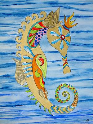 Art Print featuring the painting Penelope The Seahorse by Erika Swartzkopf