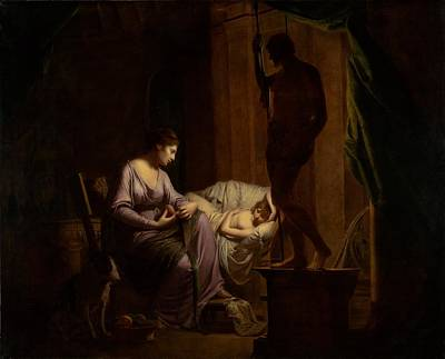 Penelope Painting - Penelope Unraveling Her Web by Joseph Wright of Derby