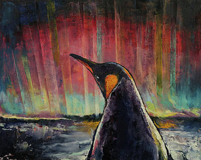 Aurora Painting - Penguin by Michael Creese