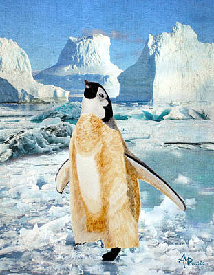 Foot Hills Painting - Penguin Chick In The Arctic by Angeles M Pomata