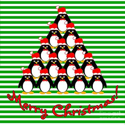Digital Art - Penguin Christmas Tree N Stripes by Methune Hively