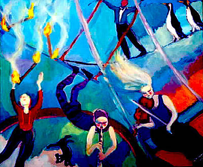 Painting - Penguin Circus by Anne Marie Bourgeois
