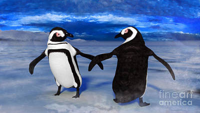Digital Art - Penguin Dance by Methune Hively