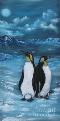Painting - Penguin Family Expectant Again by Cynthia Adams
