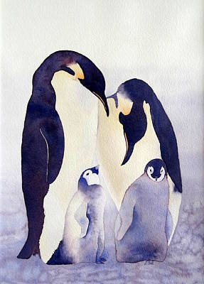 Winter Scene Painting - Penguin Family by Laurel Best