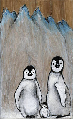 Painting - Penguin Family by Minnie Lippiatt