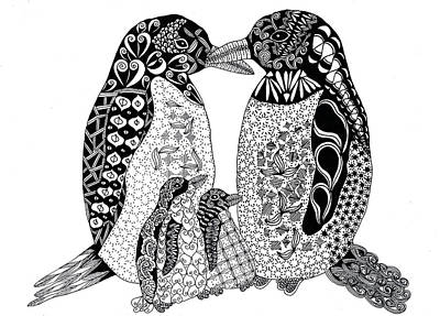 Penguin Drawing - Penguin Family by Sharon White