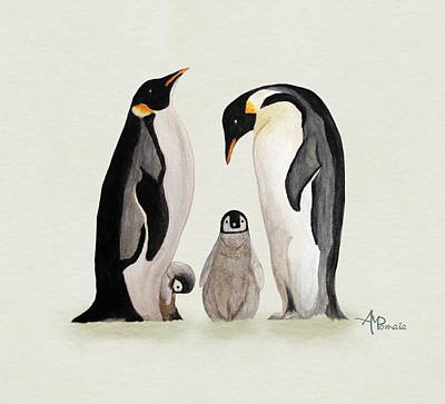 Penguin Painting - Penguin Family Watercolor by Angeles M Pomata