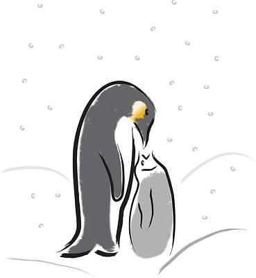 Digital Art - Penguin Feeding by Greg Slocum