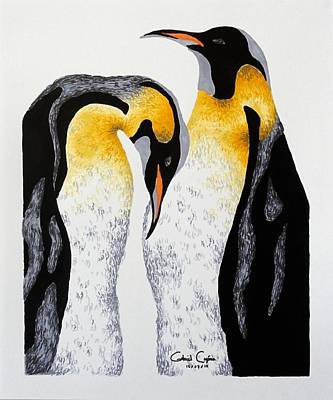 Drawing - Penguin by Gabriel Cajina