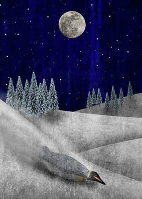 Snow Drifts Digital Art - Penguin Holiday Card by Greg Noblin