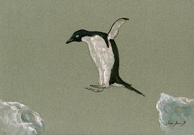 Sea Bird Wall Art - Painting - Penguin Jumping by Juan  Bosco