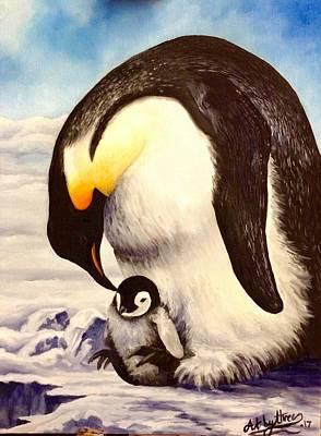 Painting - Penguin Love by Art By Three Sarah Rebekah Rachel White
