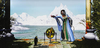Penguin Magic And The Winter Witch Art Print by Bob Orsillo
