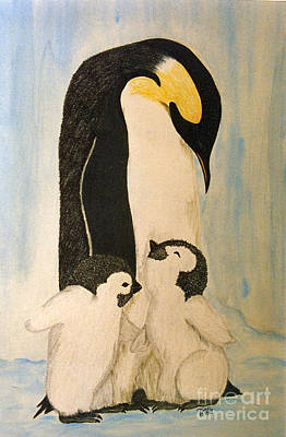 Drawing - Penguin Mama by Terri Mills
