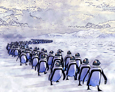 Painting - Penguin March by Methune Hively