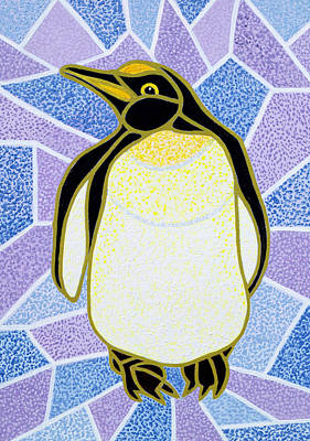 Penguin On Stained Glass Art Print by Pat Scott