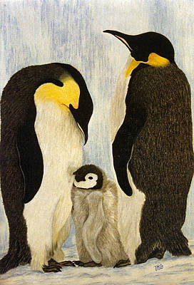 Drawing - Penguin Parents by Terri Mills