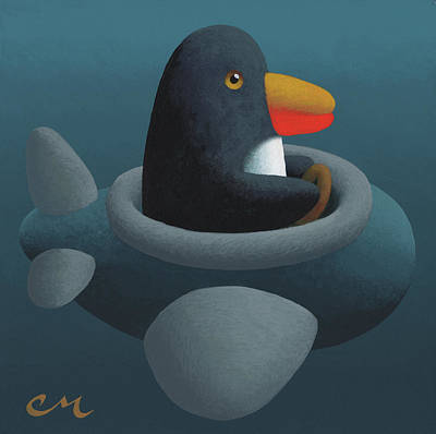Wall Art - Painting - Penguin Plane by Chris Miles