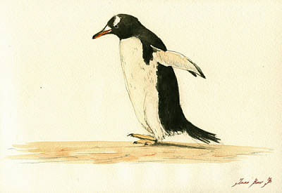 Sea Bird Wall Art - Painting - Penguin Walking by Juan  Bosco