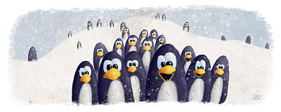 Penguin Painting - Penguin Winter by David Breeding
