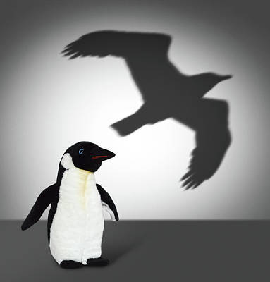 Penguin With Eagle Shadow. Concept Graphic Art Print